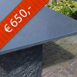 Chinees Basalt gezoet, complete tafel blad + onderstel type 2030